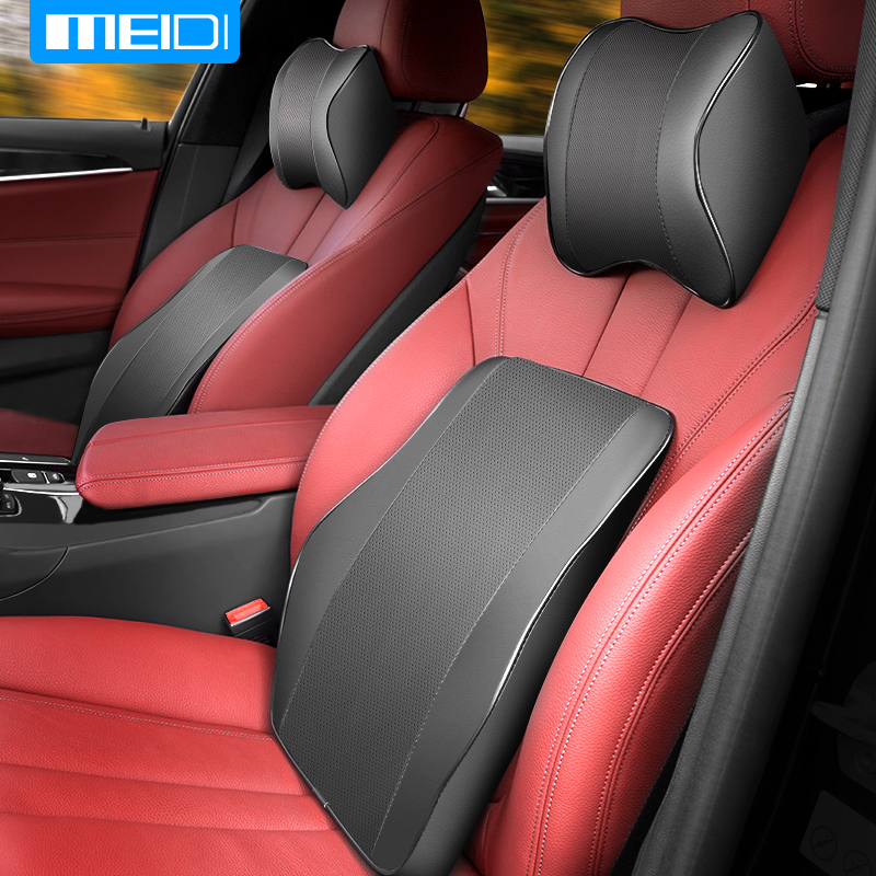 MEIDI Car Seat Head Neck Rest Memory Auto Pillow Headrest luxury Genuine Leather Back Seat Pillow Car Chair Cushion Accessories