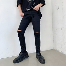Cotton Pants Men Tight Fashion Solid Color Wash Casual Hole Trousers Man Streetwear Mens Slim Hip Hop Pants Male цена