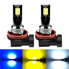 Aslent 2x h8 h11 lâmpada led hb4 hb3 9006 9005 h3 h7 h4 luzes de nevoeiro 1000lm correndo carro auto lâmpada 6000k branco 3000k amarelo dourado