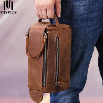 Misfits bolsa de couro genuíno masculina, bolsa de couro para cosméticos, maquiagem, vintage, para viagem 1