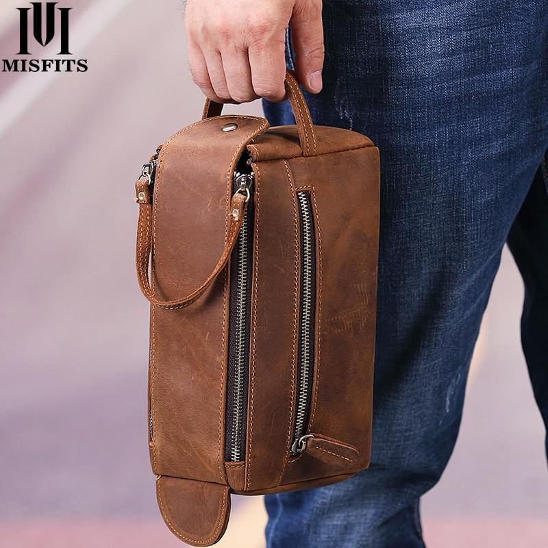 Misfits bolsa de couro genuíno masculina, bolsa de couro para cosméticos, maquiagem, vintage, para viagem