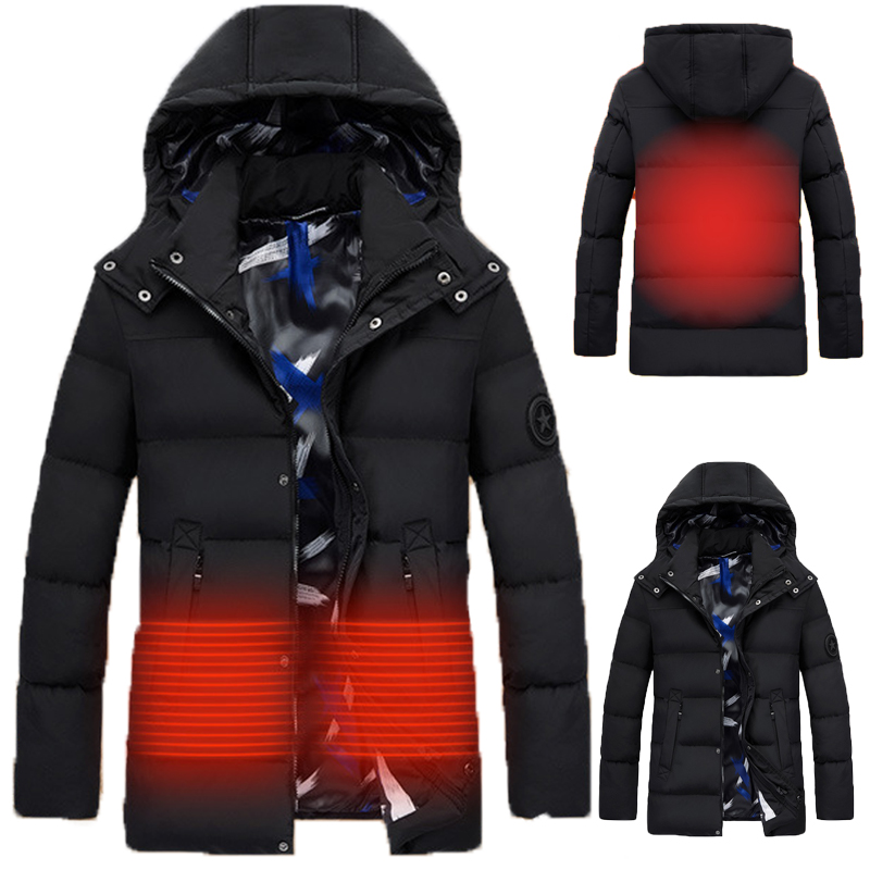 Men Winter Outdoor USB Infrared Heating Hooded Jacket Electric Thermal Clothing Coat For Hiking Heated Jacket M-4XL