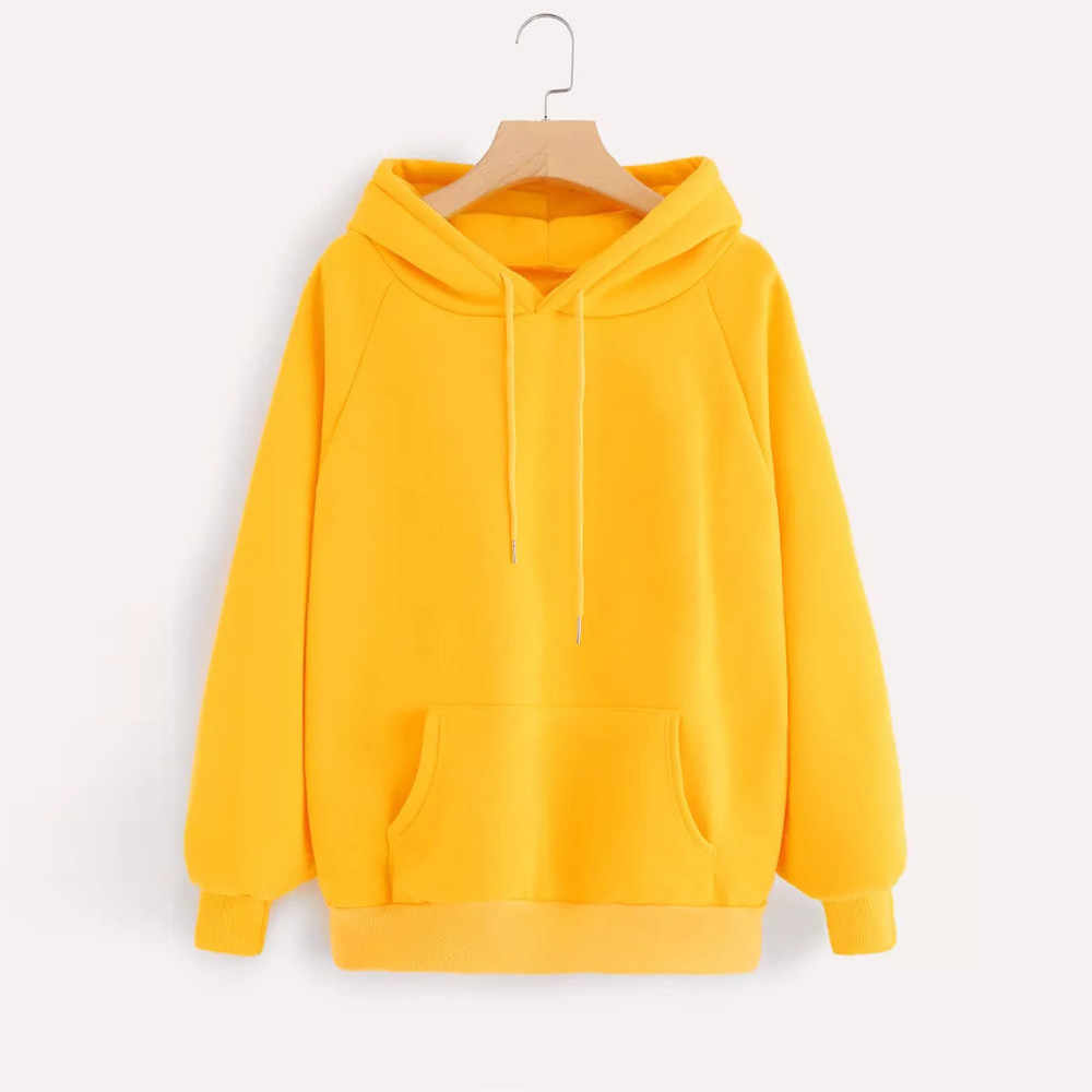 Womens Yellow Hoodies Sweatshirts Long Sleeve Pullover Hoodie Sweatshirt With Pocket Streetwear Oversized Hoodie Sudadera Mujer