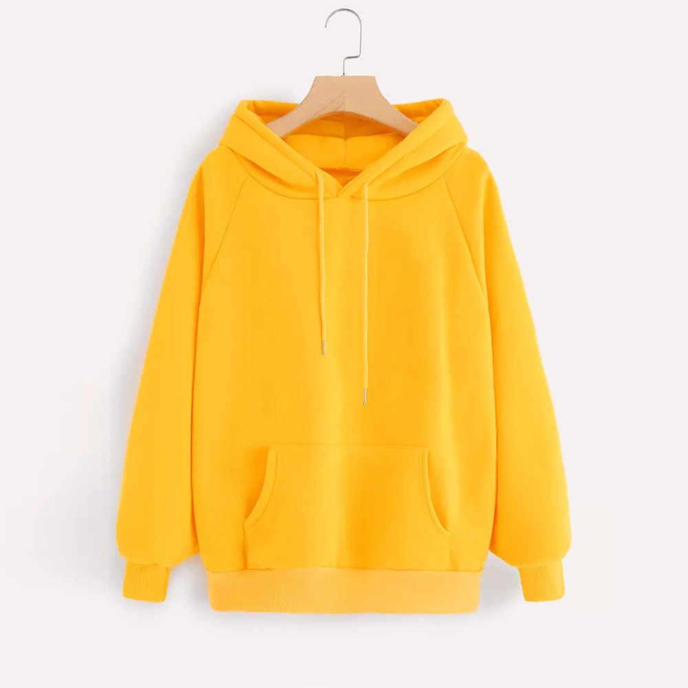 Bluzy damskie żółte bluzy z długim rękawem pulower z kapturem bluza z kieszenią w stylu Streetwear obszerna bluza z kapturem Sudadera Mujer