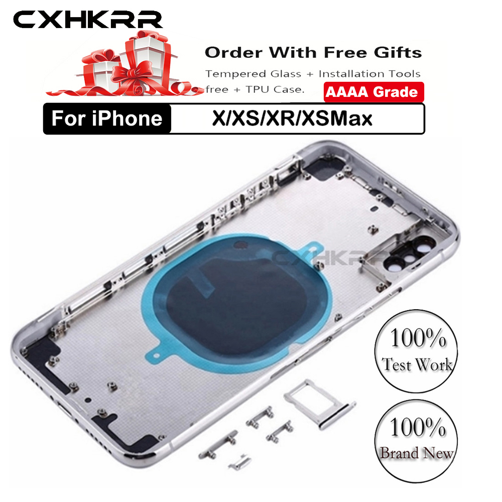 High Quality Back Cover For Iphone X/XS/XR/XSMax Housing Cover Battery Cover Rear Door Chassis Middle Frame + Tool+Tempered Film