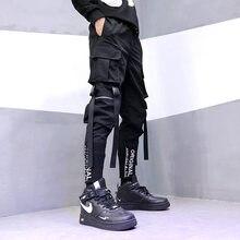 2021 moda japonesa harajuku streetwear calças para homens bolsos de fita carga joggers techwear calças masculinas hip hop