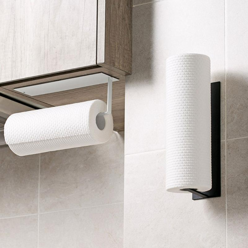 Durable Carbon Steel Roll Paper No Punching Rack Wall-mounted Towel Storage Shelf Practical Bathroom Toilet Tissue Holder