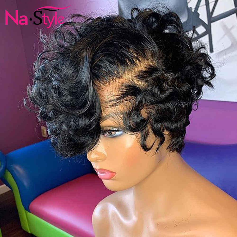 Loose Short Human Hair Wigs 13x6 Pixie Cut Bob Lace Front Wigs PrePlucked Bleacked Knots Deep Wave Wig For Black Women 130% Remy
