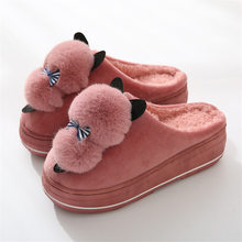 Women Slippers Winter 2019 Lovely Sheep Indoor Fur Slides Shoes Woman Plush Warm Home Slippers Soft Bottom Flip Flops(China)