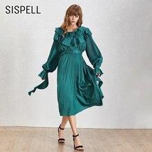 Женское платье с рюшами sispell винтажное длинными рукавами