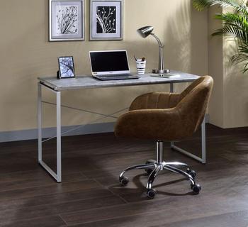 desk faux concrete silver…
