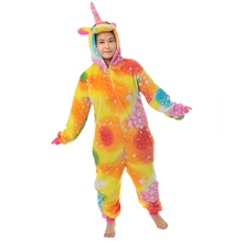 Детская Пижама с единорогом и радугой; теплая Пижама для маленьких девочек; одежда ярких цветов; Рождественская зимняя Фланелевая пижама с единорогом