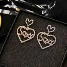 Lats элегантные милые романтические серьги в виде сердца для