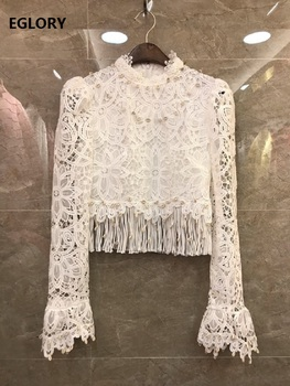 Tassel Lace Tops 2020 Spring Summer Blouses Women Seashell Deco Long Sleeve Black White Sexy Lace Crochet Tops Blouses Female фото