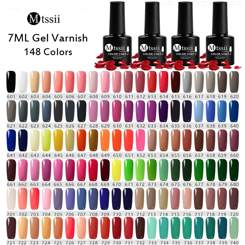 Mtssii 148 Colors 7ml Gel Nail Polish Hybrid Varnishes Nail Art Design Gel UV Nail Gel Lacquer Soak Off Gel Nail Varnish Gels