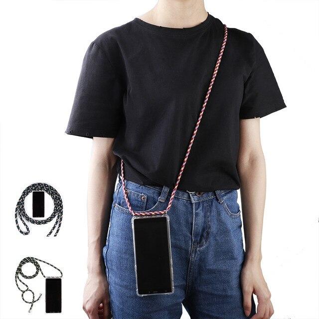 Olhveitra Case For Xiaomi Mi 9 SE A3 9T Pro CC9 CC9E 6X A2 Redmi Note 8 7 6 5 K20 Pro Y3 7A 6A Case Necklace Neck Rope Cover Bag