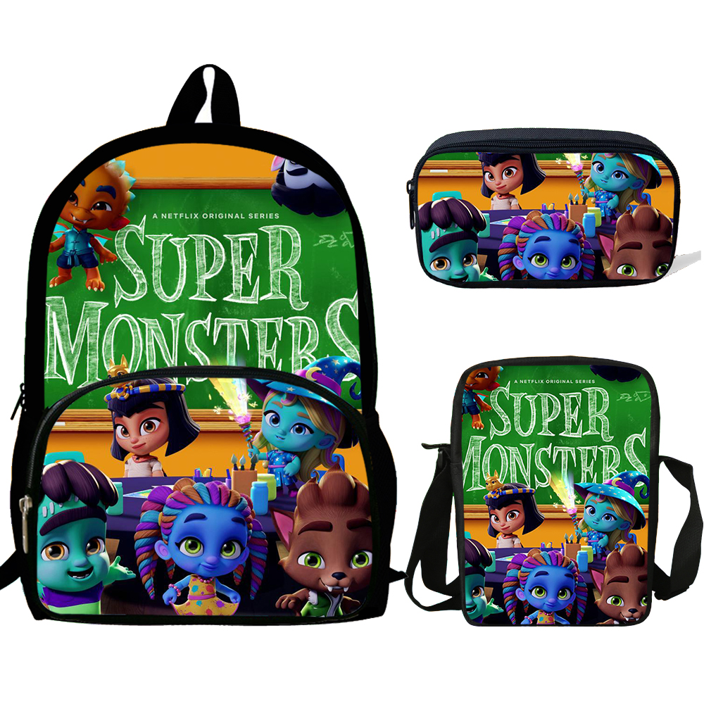 16inch Mochila Girls School Bags supers monsters pets Backpack Bag For Boys Rucksack Teenagers 3 Set gift Kids Bookbag School Bags     - title=