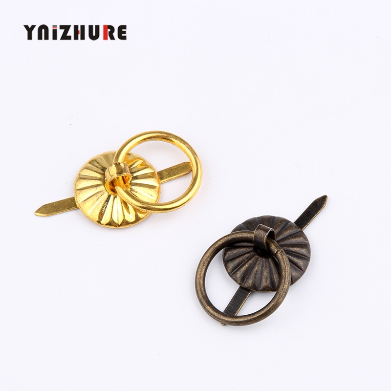 20pcs 18*20mm Gold&Bronze Small Sun Hand In Hand Metal Drawer Pull Handle Small Wire  Drawer Pulls Loop Handle