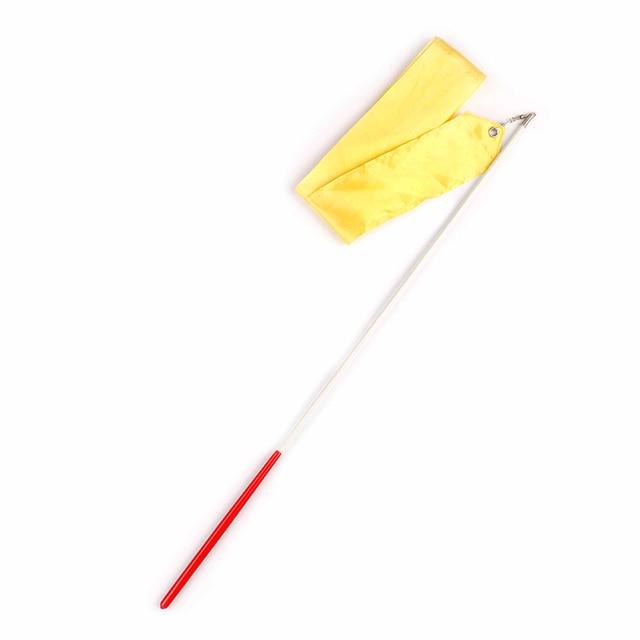 Yellow ENticerowts Streamer Rod Other Fitness Equipment Ribbon 6m Gym Dance Ribbon Stick Art Rhythmic Gymnastics Ballet Streamer Twirling Rod