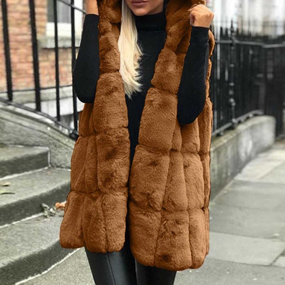 겨울 코트 여성 자켓 femme 패션 민소매 후드 모피 오픈 스티치 따뜻한 자켓 가을 겨울 조끼 코트 자켓 streetwear