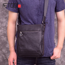 где купить AETOO Leather men's one-shoulder bag, business casual vertical men's bag, head leather oblique cross bag по лучшей цене