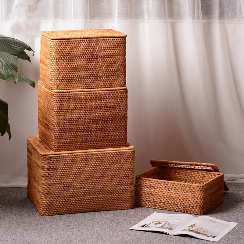 Image 2 - Laundry Basket Wicker Large with Cover Rattan Woven Rattan  Storage Basket with Lid for Dirty Clothes Toys Sundries Storage  Boxbasket with lidstorage basket with lidlaundry storage basket -