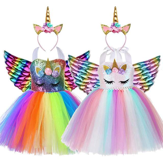 Kids Flower Sequins Tulle Unicorn Dress Cute Lol Unicorn Costume for Girls Birthday Child Christmas Clothes Baby Party Frocks