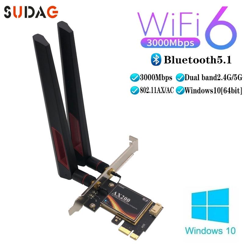 3000 Мбит/с Wifi 6 беспроводной настольный PCIe Wi-Fi адаптер Bluetooth 5,1 802.11ax двухдиапазонный 2,4G/5 ГГц PCI Express сетевая карта