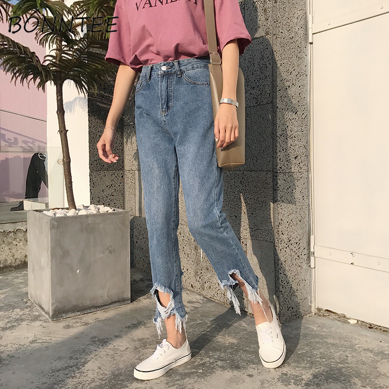 Jeans Women Holes Hip Hop Leisure Pockets Trousers Womens Straight Loose Trendy Retro Students Korean Daily High Quality Chic