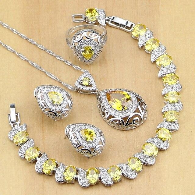 Drop 925 Sterling Silver Jewelry Yellow Cubic zirconia Jewelry Sets For Women Earrings Pendant Rings Bracelet Necklace Set