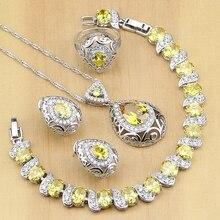 Spadek 925 Sterling Silver biżuteria żółta cyrkonia zestawy biżuterii dla kobiet kolczyki wisiorek pierścionki bransoletka naszyjnik zestaw