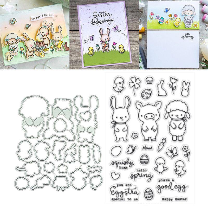 Porco ovelhas corte de metal dados estênceis corte para diy scrapbooking álbum de fotos cartão de papel artesanato decorativo gravação 85wc - 5