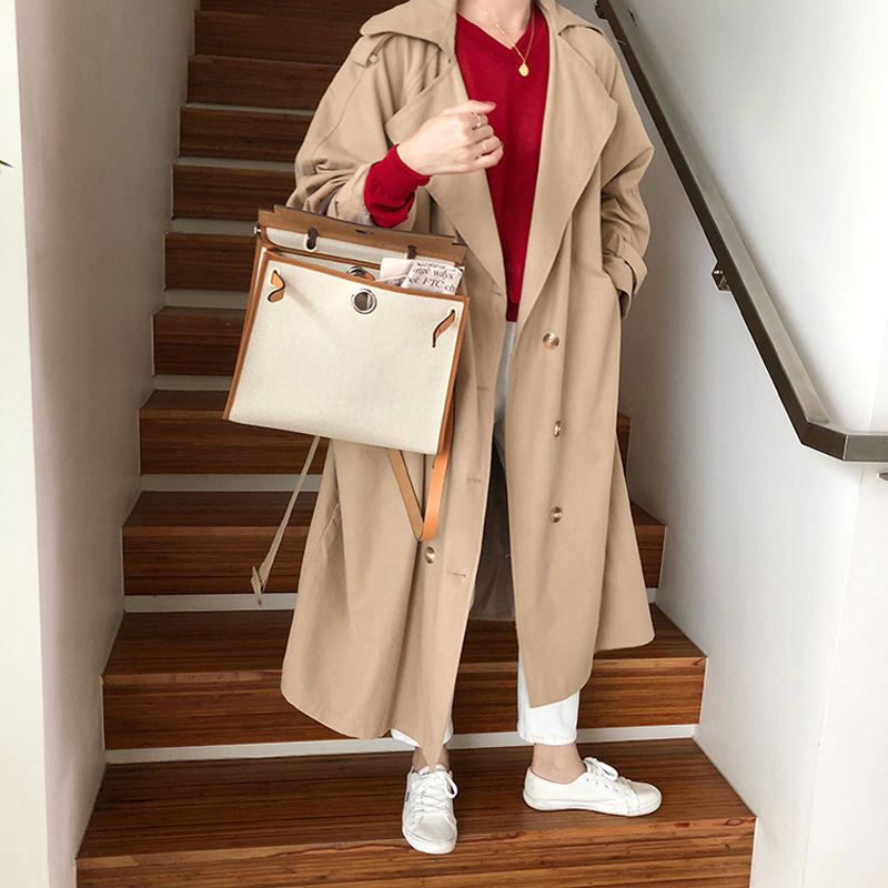 2019 Women's Double-Breasted   Trench   Coat with Belt Classical Lapel Collar Loose Long Windbreaker Dropshipping