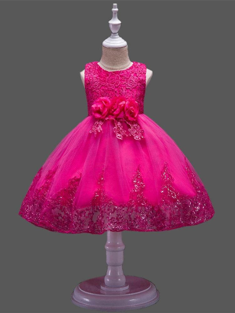 It's Yiya/платье с цветочным узором для девочек 2019 г., рождественские Бальные платья с круглым вырезом, элегантные платья для первого причастия