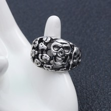 Gothic Steampunk Skull Ring For Men Stainless Steel Male Retro Metal Skeleton Vintage Rings Unisex Cool Hip Hop Jewelry Gifts vintage stainless steel snake rings for male motorcycle party personality steampunk couple rings animal rings men jewelry
