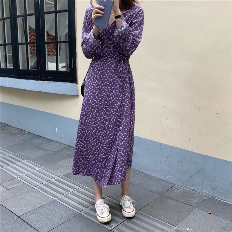 Alien Kitty Autumn Purple Chic Print Floral Loose V-Neck Lace Up Sweet Gentle All-Match Casual Cute Girls Women Fresh Dresses