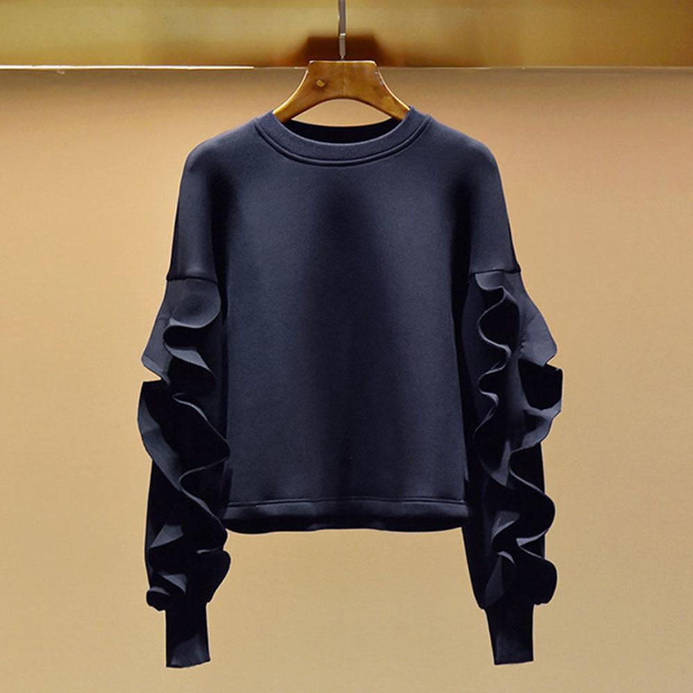 Hoodie 2021 Spring And Autumn New Hoodies Women's Loose Ruffled Sleeve Sweater Laides New Design Fashion Female Tops Round Neck