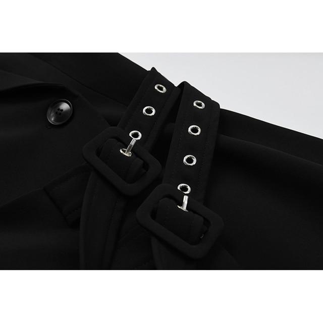 [EAM]  Women Irregular Bandage Spliced Blazer New Lapel Long Sleeve Loose Fit Jacket Fashion Tide Spring Autumn 20211DA710 5