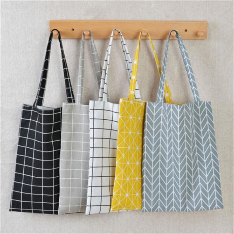 Women Plaid Linen Cotton Shopping Bag Female Canvas Cloth Shoulder Bags Environmental Storage Handbag Reusable Eco Grocery Totes