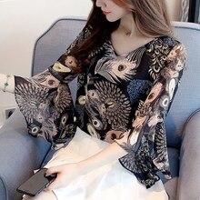 Europe Autumn 2019 Summer Women Shirt Flower Print Chiffon Tops New Half Sleeve Peacock Ruffled V-Neck loose women blouses 660E5