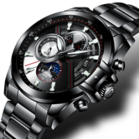 BINGER Automatic Mechanical Men Watches Top Sports Fashion Brand Luxury Waterproof Automatic Calendar Week All steel Wristwat