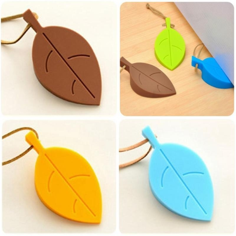 4 Color Creative Leaves Children Baby Gel Buffer Anti-pinch Security Door Card Stereo Plug Silicone Slip Windproof Travel Home