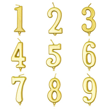 0-9 Large Golden Number Romantic Birthday Smokeless Safe Candle Cake Baking Decoration Candle Paraffin candle birthday girl decoration birthday supplies cake candle cake decorating princess girl pumpkin car birthday candle