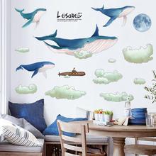 Фоновая Настенная Наклейка на диван большой голубой кит облако
