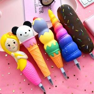 Новые сжимаемые антистресс игрушки Мороженое хот-дог динозавр медленно растет ручка мягкая сжимаемая ручка игрушка для снятия стресса рож...