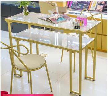 Nordic Ins stół do malowania paznokci podwójny marmurowy stół do malowania paznokci stół i krzesło zestaw pojedynczy stół proste nowoczesne krzesło europejskie tanie i dobre opinie CN (pochodzenie) Salon mebli Stół paznokci Meble sklepowe