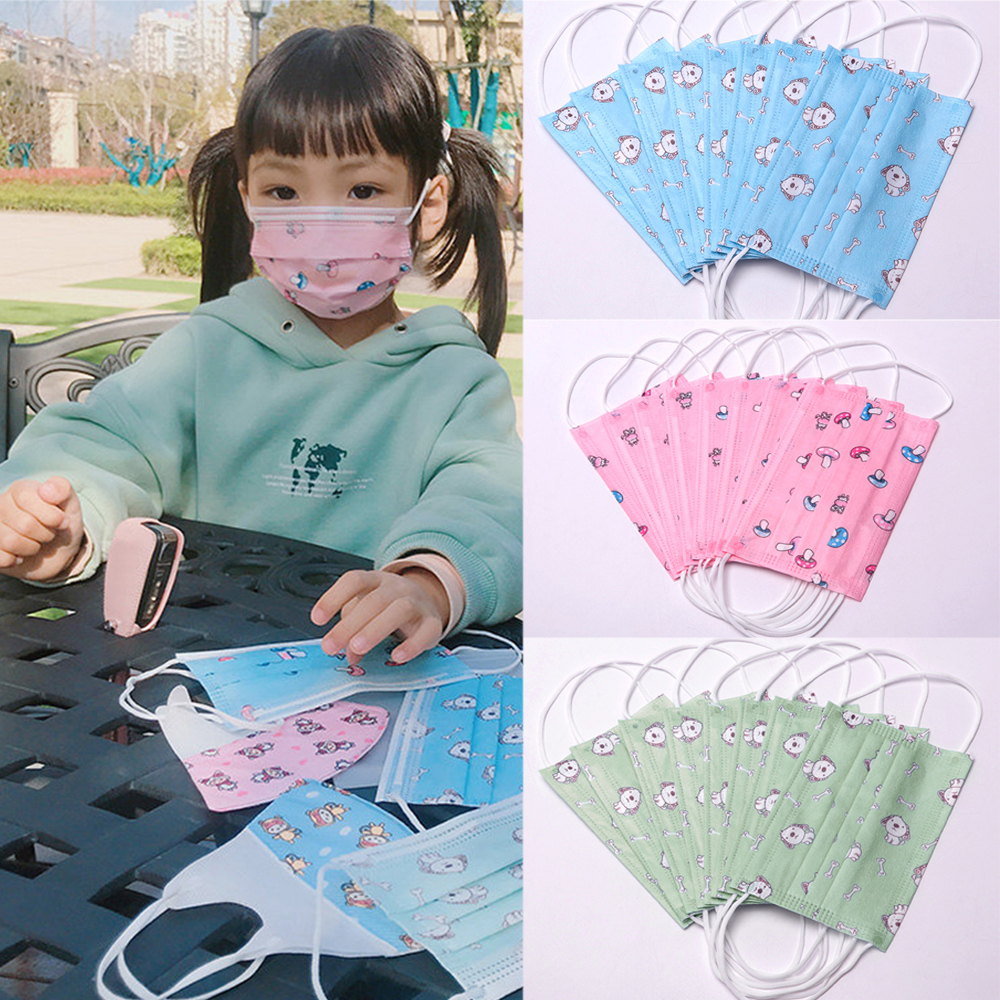 PM2.5 Non-Woven Children Face Masks Breathable Cartoon Print Disposable Mouth Mask Kids Dustproof Respirator 3 Layers Face Masks