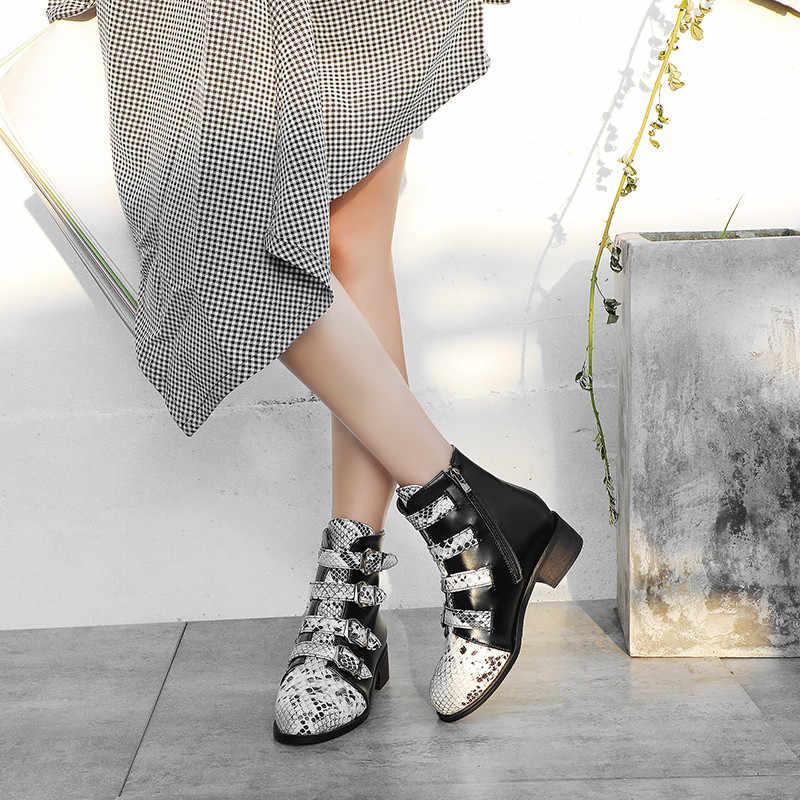 FEDONAS moda hayvan baskı Pu deri yüksek topuklu parti temel ayakkabı kadın artı boyutu kadın toka yarım çizmeler sıcak kısa çizmeler