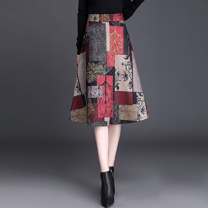2019 Autumn And Winter Skirt Mid-length 2018 Korean-style A- Line Skirt Versatile High-waisted Large Size Big Skirt Large Size L