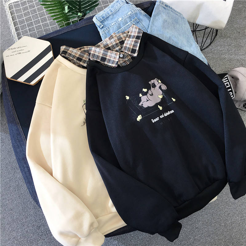 Cute Bear oversized Kawaii women sweatshirt fashion pullovers ladies plus size tops hoodie casual ladies korean style streetwear 1